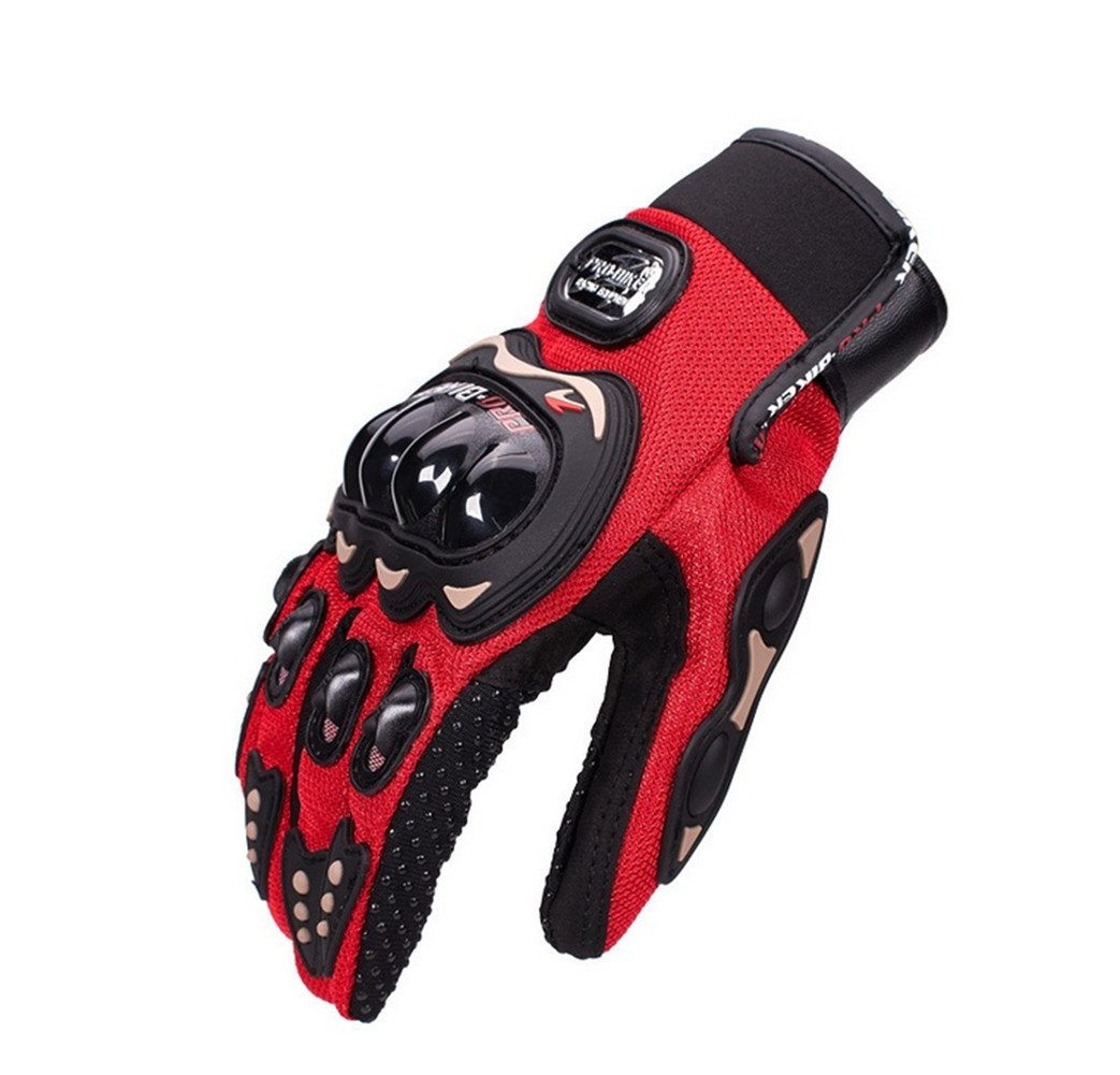 Wonzone Motorbike Protective Carbon Fiber Powersports Off-Road Racing Cycling Motorcycle Full Finger Motocross Motor Gloves (Red, X-Large)