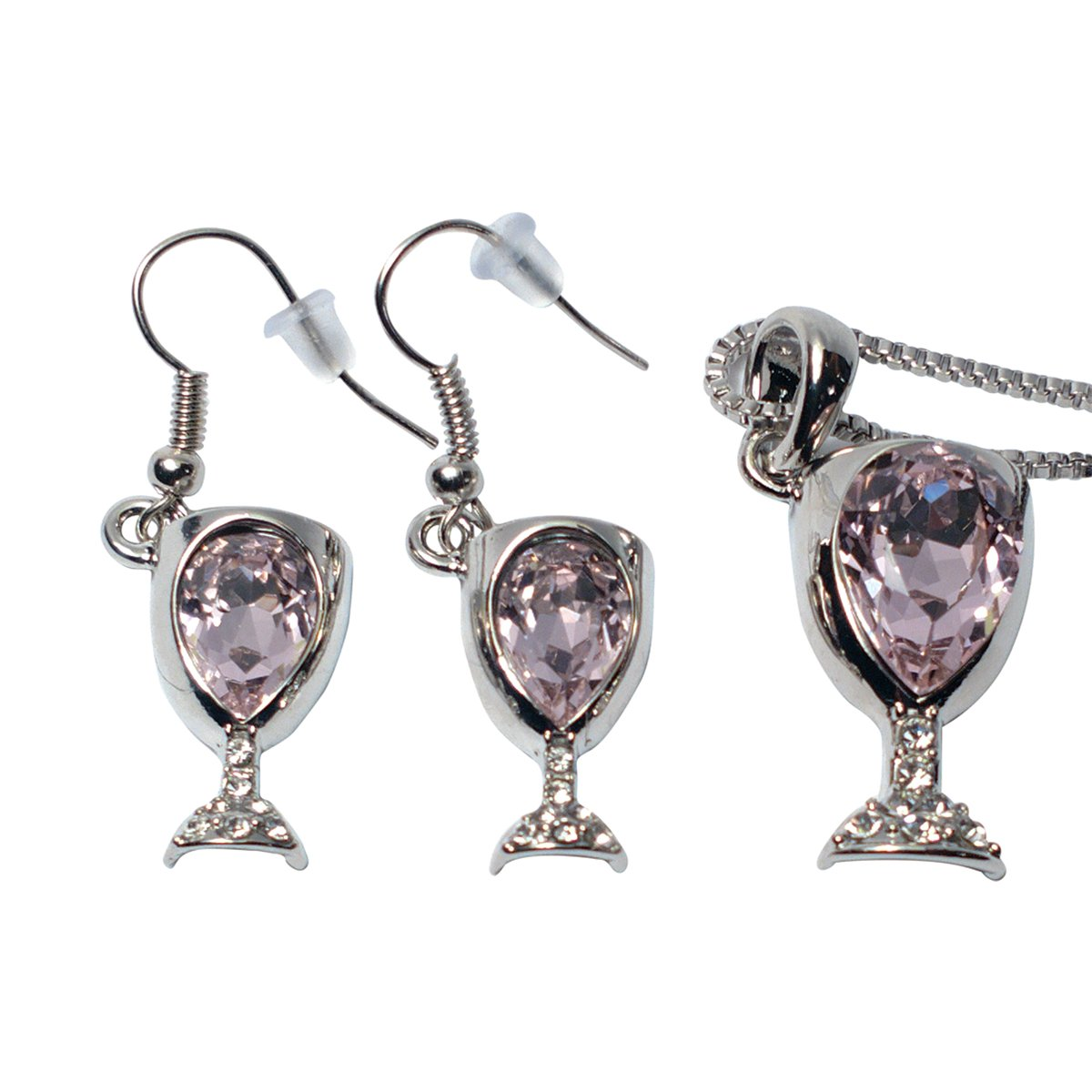 Alloy Wine Glass Necklace and Earrings With Wine Tinted Crystal Set - Fun Wine Gift - Pink