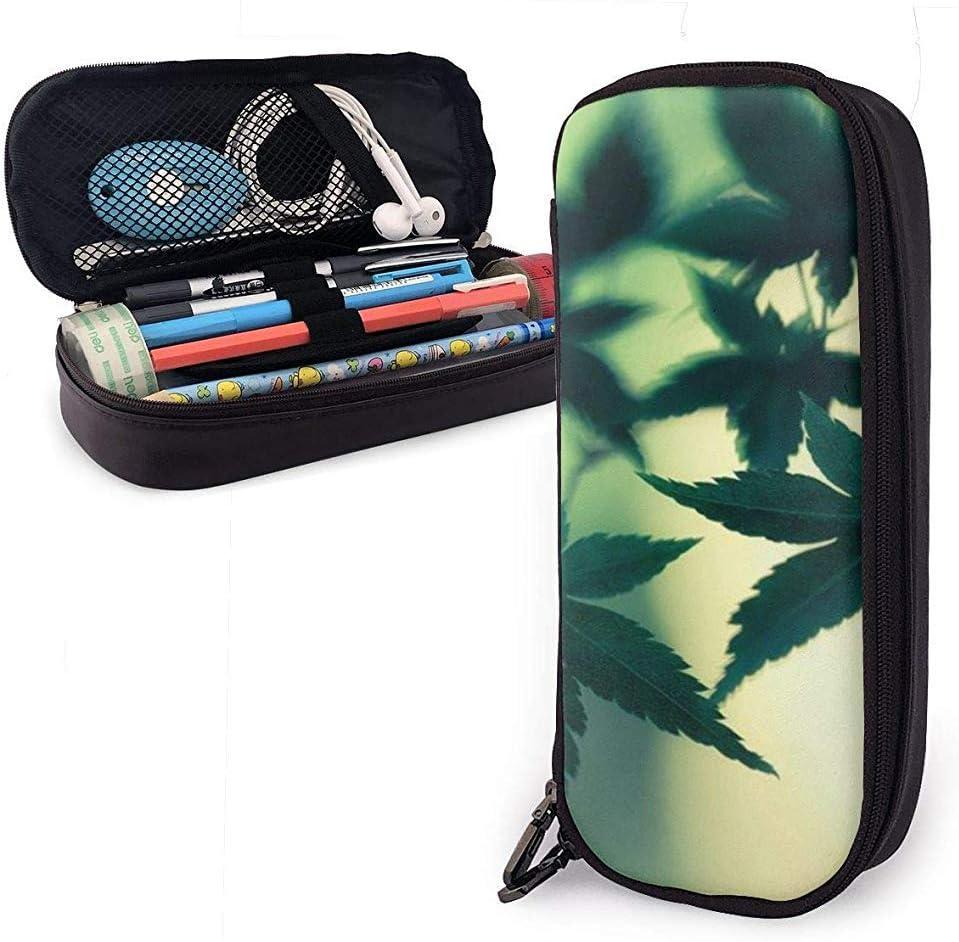 Bolso de cuero de PU Funda de marihuana verde Hojas Bolsa de lápiz Bolígrafo Bolso de bolsa de maquillaje cosmético