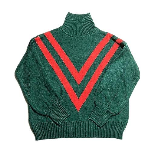 15d71b3631014 Kulywon Women Stripe Turtleneck Long Sleeve Knitting Pullover Blouse Sweater  Tops at Amazon Women s Clothing store