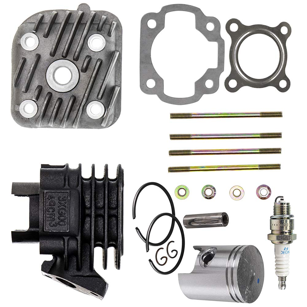 50cc Engine Piston Cylinder Head Top End Kit For 1992-2011 Arctic Cat Can-Am Polaris Yamaha Jog CY50 Scrambler 50 Mini