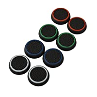 4 Pair / 8 Pcs Replacement Luminous Silicone Thumb Grip Stick Analog Joystick Grips Caps Cover for PS3 / PS4 / Xbox 360 / Xbox One Game Controllers Black