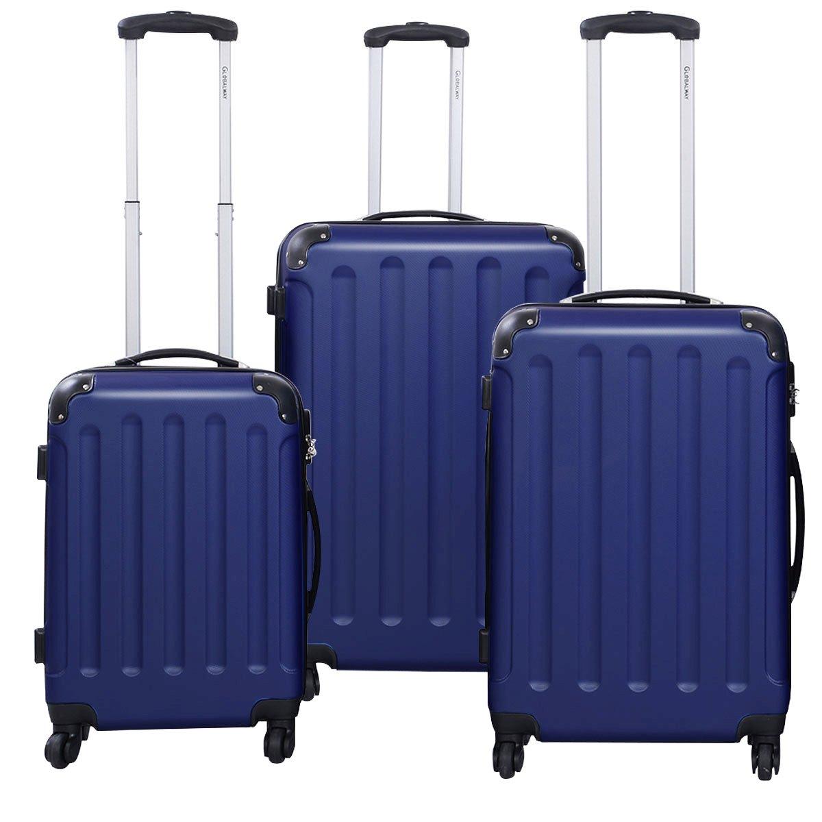 Goplus 3 Pcs Luggage Set Hardside Travel Rolling Suitcase ABS Globalway (Dark Blue)