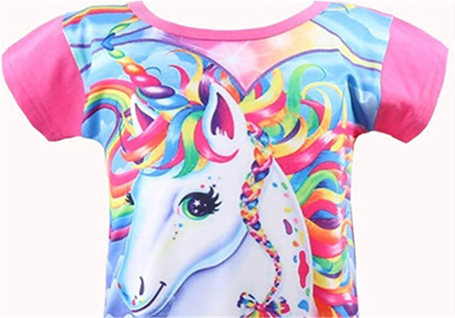 Rswsp Unicorn Printed Toddler Girls Rainbow Nightshirt Casual Nightie Princess Night Dresses