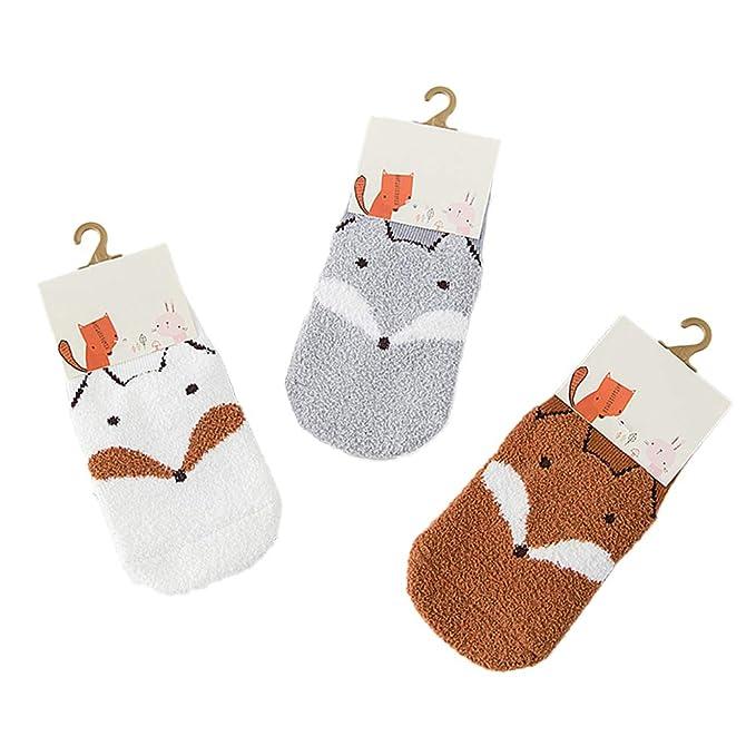 size 40 5e351 21002 TENDYCOCO 3 Paar Babysocken Kindersocken Winter Warm Cute Fuchs Muster  Stoppersocken Bettsocken Anti Rutsch Samt Socken Größe M