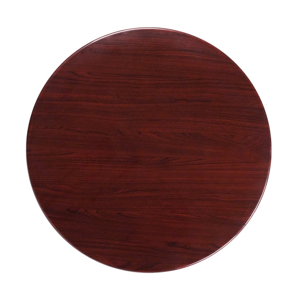 Flash Furniture 36'' Round High-Gloss Mahogany Resin Table Top with 2'' Thick Drop-Lip