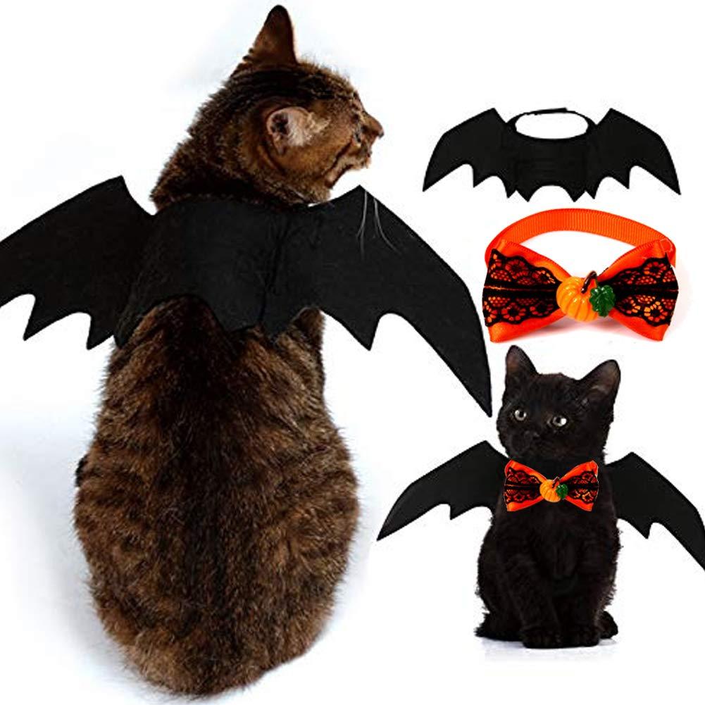2 Pack Halloween Pet Kostüm, Pet Fledermausflügel und Pet Fliege, Pet Bekleidung Kleine Hunde Katzen, geeignet für süße Kätzchen und Welpen usw. Haustier Kleidung KRUCE