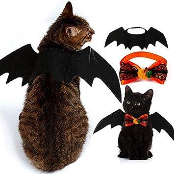 Paquete de 2 disfraces de Halloween para mascotas, alas de murciélagos para mascotas y corbatas de ...