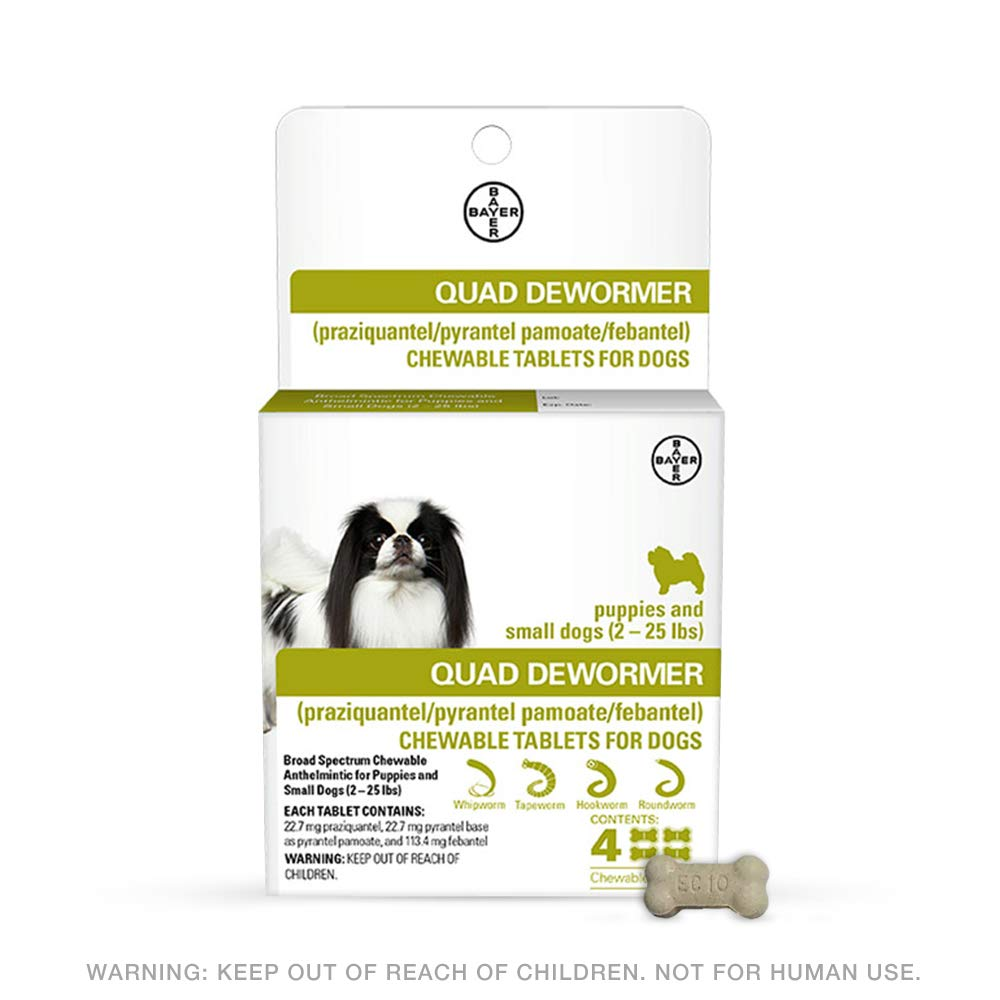 Bayer 22.7mg Puppies and Small Dog 2-25 lb 4 count Quad Chewable Dewormer by Bayer Animal Health