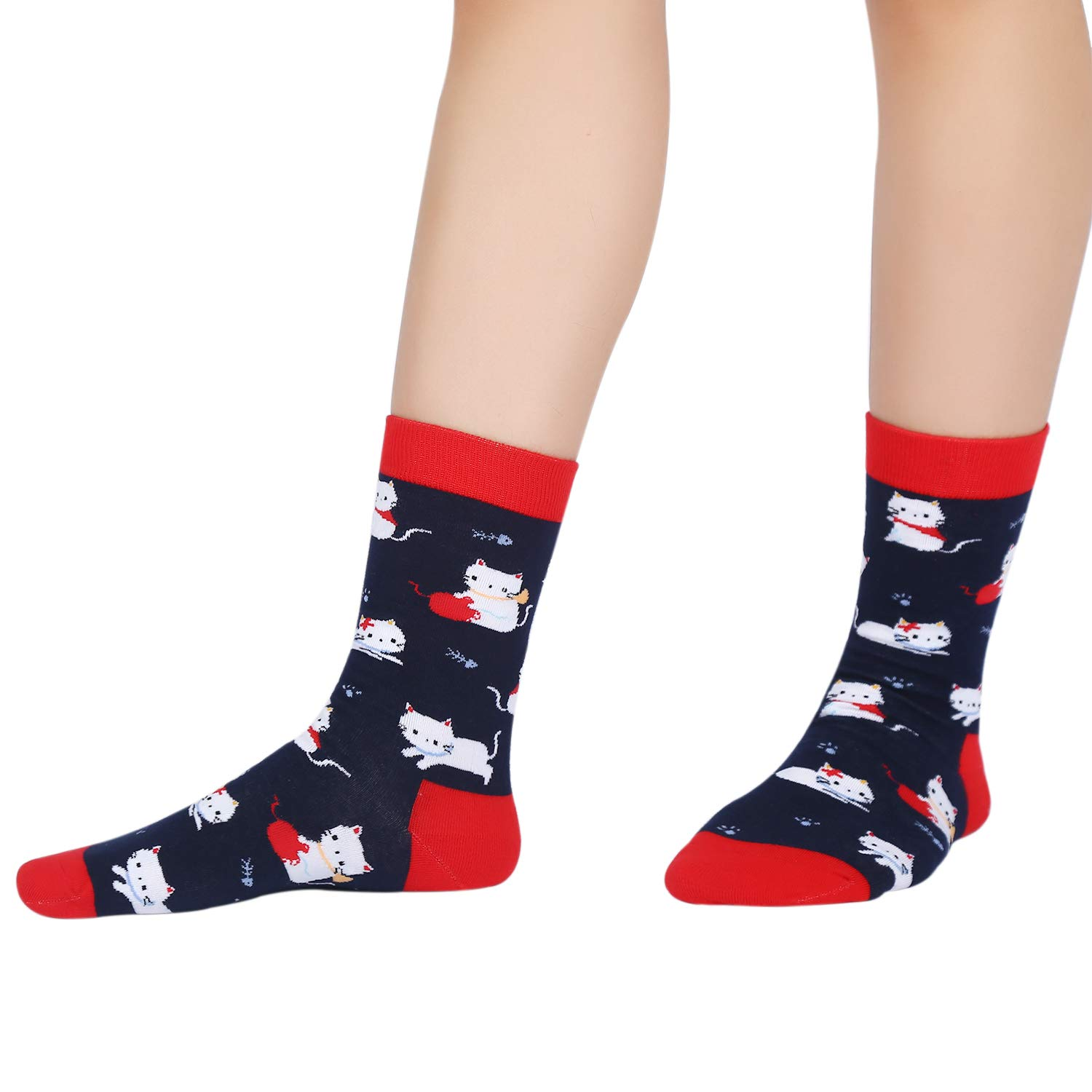 Womens Novelty Crew Socks Crazy Funny Dogs Cats Casual Cute Animal Cotton Socks