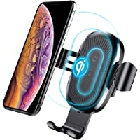 Baseus Qi 10W Wireless Car Charger Mount Gravity Car Mount Air Vent Phone Holder, 10W Charge for Samsung Galaxy S10 S10+ Plus S10E S9 S9 Plus S8 S7 S6 Edge, Note 8 5, Standard Charge for iPhone X, XS Max, XR 8 8 Plus Huawei Mate 20 Pro , Google Pixel 3 & Pixel 3XL and Qi Enabled Devices (Black)