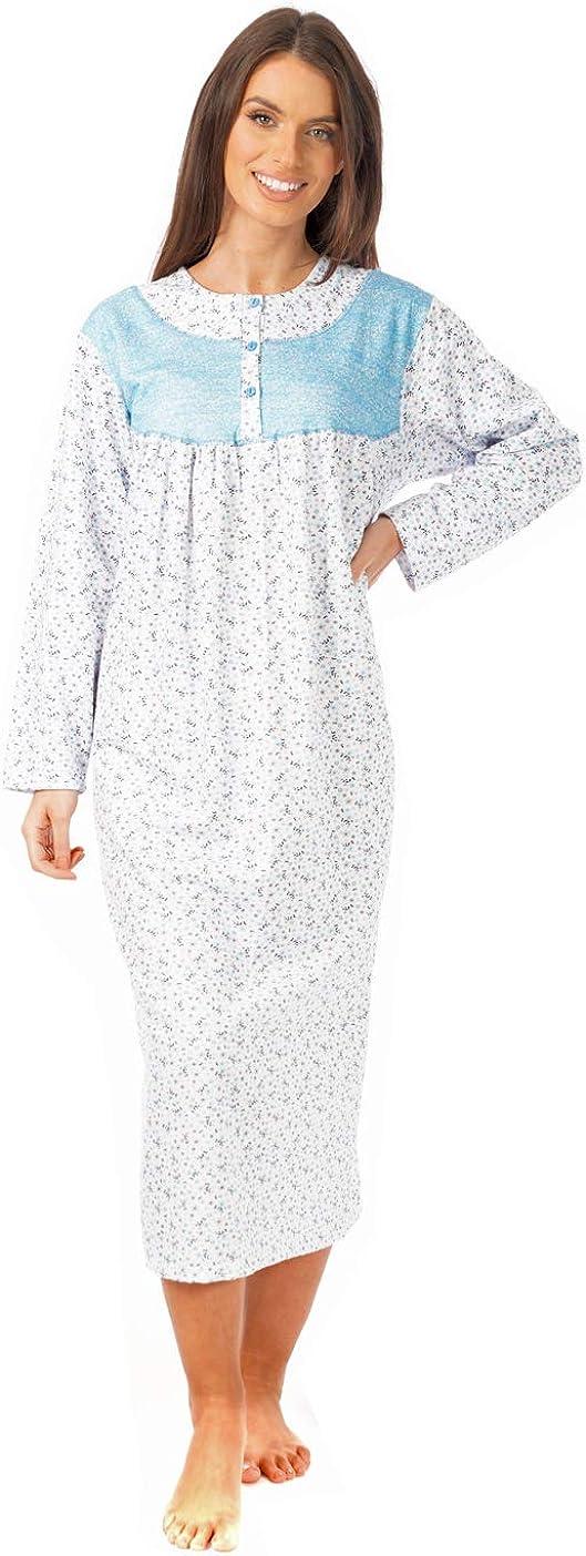 i-Smalls Mesdames Pleine Longueur Coupe Ample 100/% Coton Bross/é Chemise de Nuit avec 3 Boutons Design Panneau Floral M-3XL