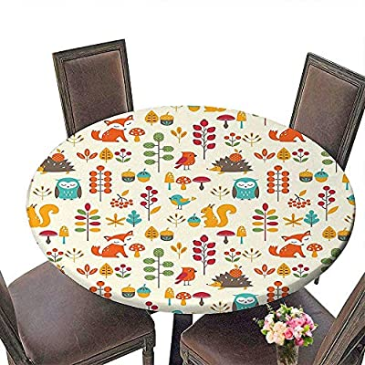 "Cheery-Home Durable Polyeste Tablecloth(Elastic Edge) Suitable for All Occasions, (29.5"" Round) Children Cute Kids Autumn Pattern with Owl Fox Squirrel Birds Animal Leaves Artsy Print Multicolor."