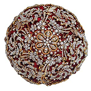 DOTKV Wedding Bouquet with Golden Luxury Artificial Diamond,Set Including Bouquets, Wrist Flowers,Corsage for Your Wedding with Full Hand-Made (Gold+Red)