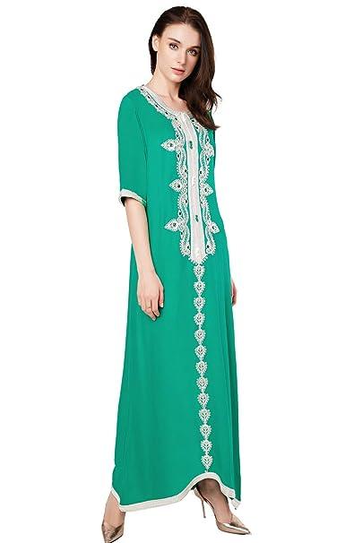 fa325177d6 BAYA Women Islamic Clothing Maxi Long Dress Moroccan Kaftan Caftan  Embroidery Dress Abaya Muslim Robes Gown Jalabiyas