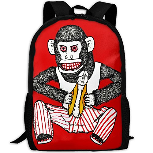 Funny Monkey Playing Cymbals Unique Outdoor Shoulders Bag Fabric Backpack Multipurpose Daypacks For Adult -