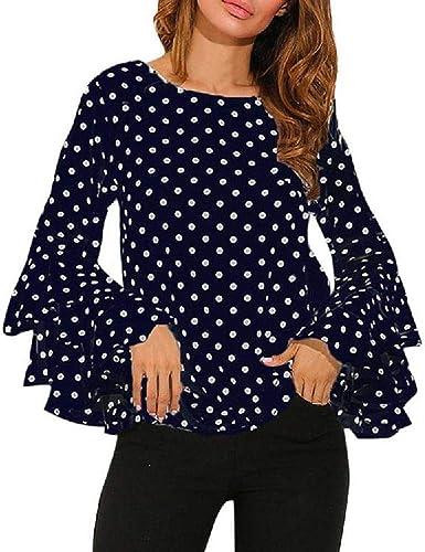 VECDY Moda Camisa Mujer Trompeta Manga Larga Suelta Lunares En Blanco Y Negro Camiseta Tops De Primavera Camisa Casual De Mujer: Amazon.es: Ropa y accesorios