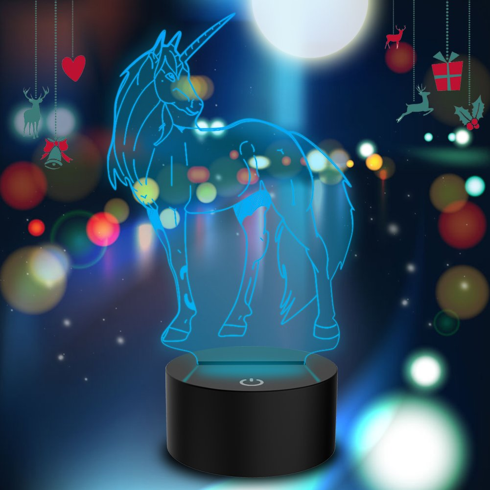 Novelty Unicorn 3D Illusion Lamp Led Night Light with 7 Colors Flashing & Touch Switch USB Powered Bedroom Desk Lamp for Kids Gifts Home Decoration by Atglus (Image #1)