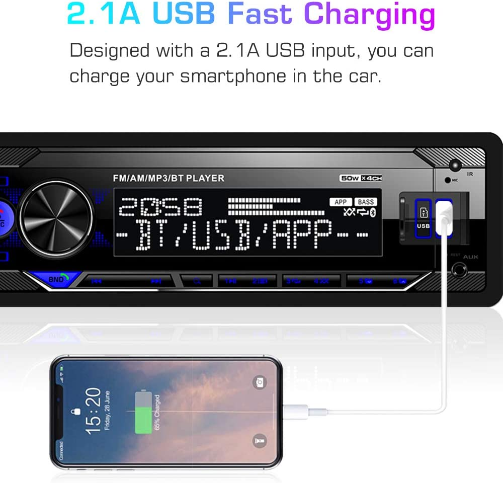USB Fast Charging Wireless Remote Mobile APP Control Dual USB//AUX-in//SD Card ABSOSO LCD Digital Media Car Player Support Bluetooth Audio//Hands-Free Calling Single Din Car Stereo Receiver AM//FM