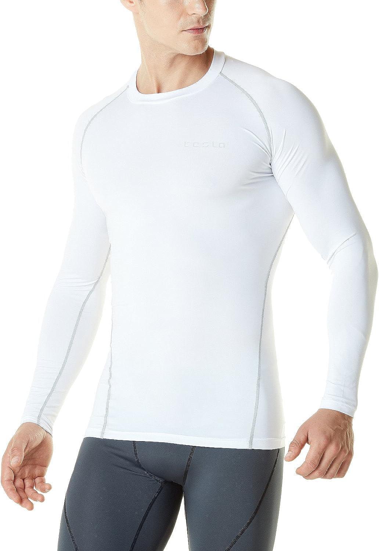 TSLA Mens Long Sleeve T-Shirt Baselayer Cool Dry Compression Top