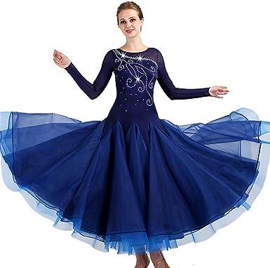 JTSYUXN Women Elegant Ballroom Latin Dance Party Long Swing Tiered Skirt,modern Waltz Tango Dance Practice Skirt