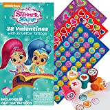 Shimmer and Shine 32 Valentines Cards with 32 Tattoos, 130 Mini Heart Stickers, and 6 Fun Heart Stampers