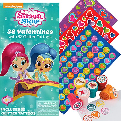 Shimmer and Shine 32 Valentines Cards with 32 Tattoos, 130 Mini Heart Stickers, and 6 Fun Heart Stampers (Shimmer Tattoo)