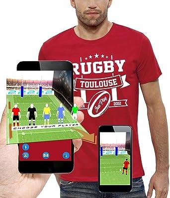 PIXEL EVOLUTION Camiseta 3D Rugby Toulouse en Realidad Aumentada Hombre: Amazon.es: Ropa y accesorios