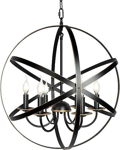 6-Light Farmhouse Chandeliers 23.6″ Industrial Pendant Lighting Metal Ceiling Light Fixture Hanging Light