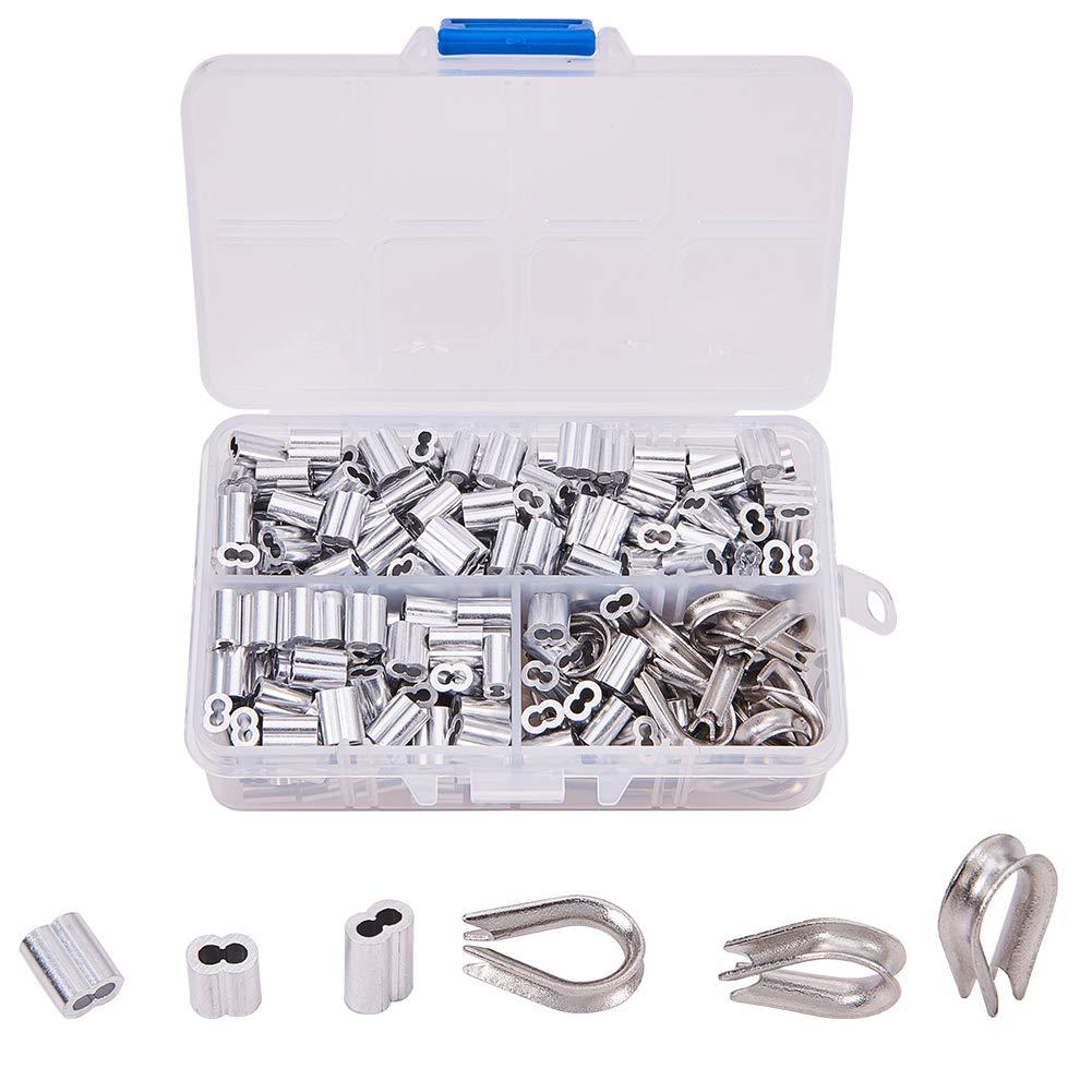 INCREWAY Kit di redance in acciaio inossidabile 304 e manicotti per fune in alluminio di 6 dimensioni diverse