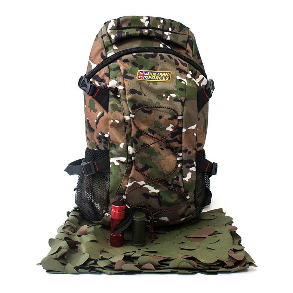 Mochila de camuflaje de las Fuerzas Armadas Highplains H.M.: Amazon.es: Jardín