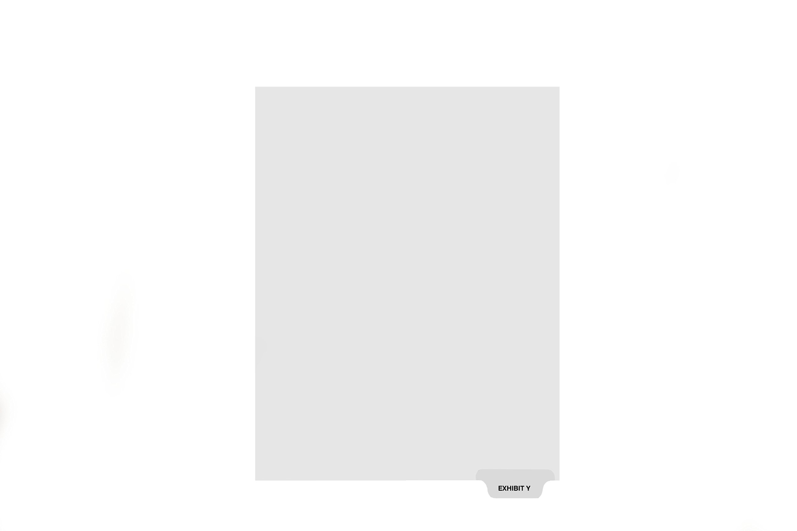 Kleer-Fax Letter-Size Individual Exhibit Letter Index Dividers, Bottom Tab, 1/5th Cut, 25 Sheets/Pack, White, Exhibit Y (81164)