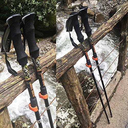 Alpine Summit Folding Trekking Poles [ Pair ] Hiking / Walking Sticks Ultralight - EVA Grips, Easy Flip Locks