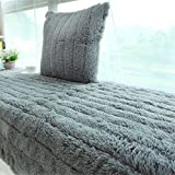 bay window cushions  Plush Thickened Non-Slip Bay Window Pad/Windowsill Mat/Window Bench Mat (70x180cm, Grey)