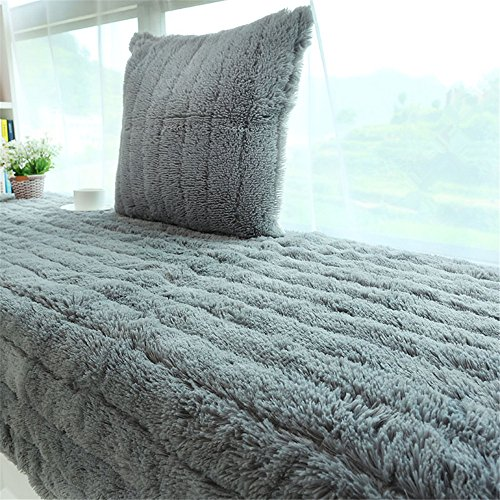 Plush Thickened Non-Slip Bay Window Pad/Windowsill Mat/Window Bench Mat (70x180cm, Grey)