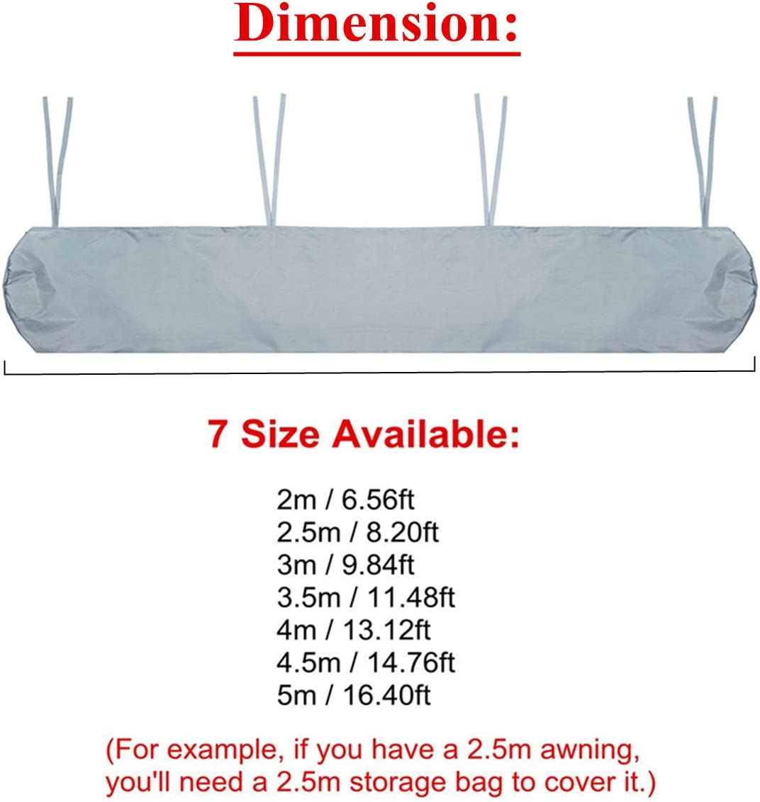 2m // 6.56ft dDanke Grey Patio Awning Storage Bag with String for Outdoor Garden Sun Protection Dustproof