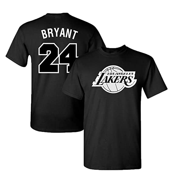 reputable site 71d02 6d9bb Finitee LA Lakers James, Bryant & Kuzma Black & White Jersey T-Shirt with  Full Colors Digital Printed Front & Back.