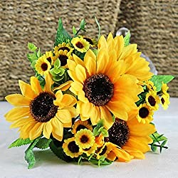 Academyus 7 Heads Artificial Floral Sunflower Bouquets for Home Office Party Decor Wedding Scene Setting