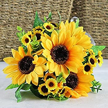Acamifashion 1 Bouquet Artificial Silk Sunflower 7 Stems Flowers For Home Decoration Wedding Decor Bride Holding Flowers Floral Decors