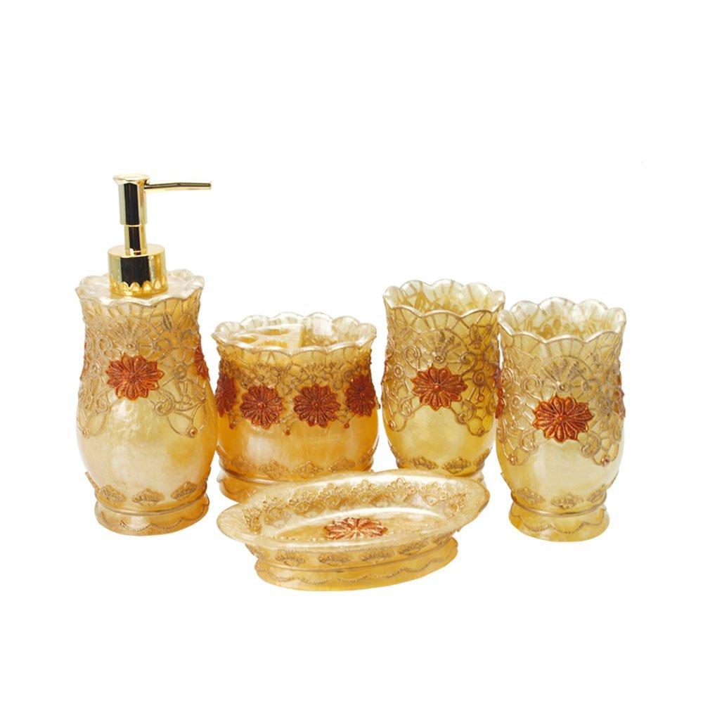 5 Piece Bathroom Accessory Set Resin Soap Dish, Soap Dispenser, Toothbrush Holder & Tumbler