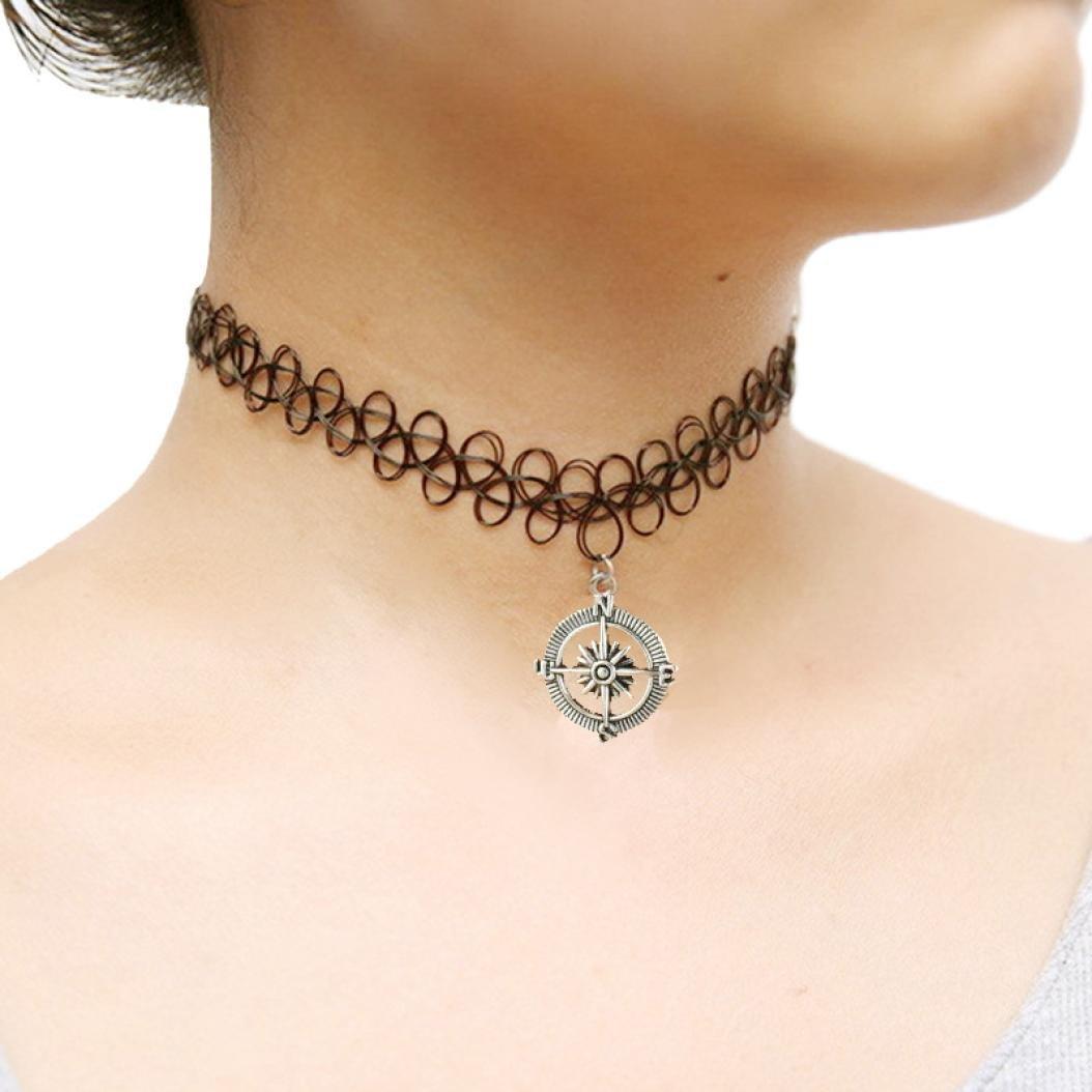 Malloom® 90 elástico Boho tatuaje Gargantilla tramo Collar Negro Retro Henna Vintage gótico (Signo de la paz) Amazon.es Joyería