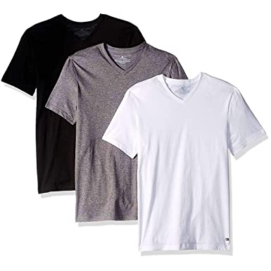8644477f7ec Tommy Hilfiger Men's 3 Pack Cotton Stretch Classic V-Neck Tee at ...