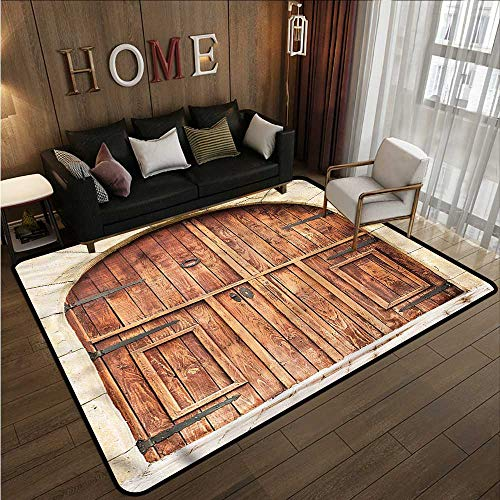 Custom Rug Rustic Oak Door Stone Facade Anti-Slip Doormat Footpad Machine Washable 5'10