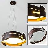 Hängelampe Schwarz Novara mit braunen in Wellen geschwungenen Metallelementen - Esstischlampe LED modern - E27 Pendelleuchte