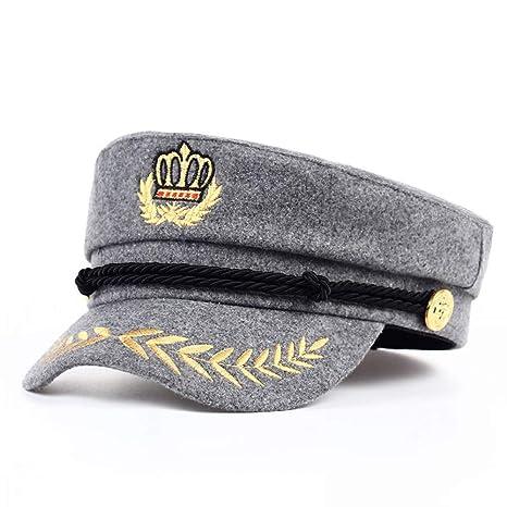 ERQINGBM Berretto Cappello Caldo Vintage Uomo Donna Autunno Inverno  Berretti Militari Capitano Regolabile Cappellino da Marinaio feb1f0f9e8a0