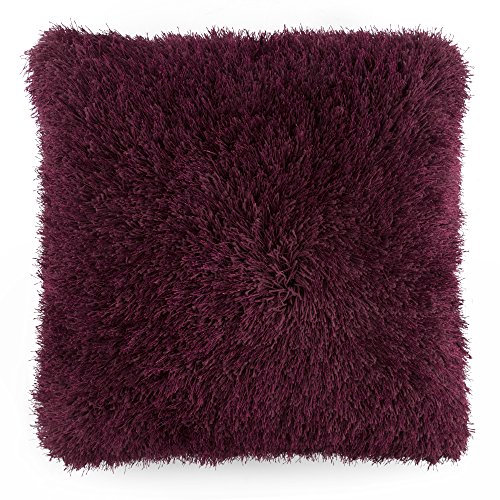 Lavish Home Oversized Floor or Throw Pillow Square Luxury Plush- Shag Faux Fur Glam Decor Cushion for Bedroom Living Room or Dorm (Burgundy)]()