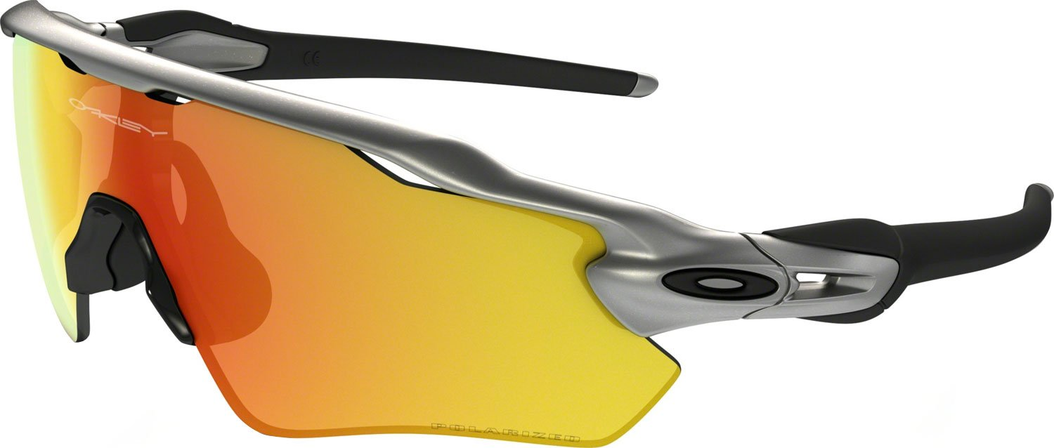 Oakley Boys' Radar Ev Xs Path Polarized Iridium Rectangular Sunglasses, Silver, 31 mm by Oakley
