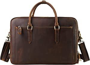 """Leathario Mens Leather Briefcase Crossbody Bag Leather Computer Bag Messenger Bag Fit for 15"""" laptop"""