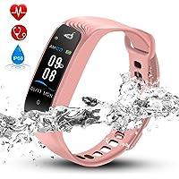 Hommie Bracelet Intelligent Etanche IPX8 Tracker d'Activité avec Cardiofréquencemètre Podomètre Calories Sommeil, Montre Connectée Bluetooth 4.0 Compatible avec iOS 8.0 ou Android 4.3 W04 Or Rose