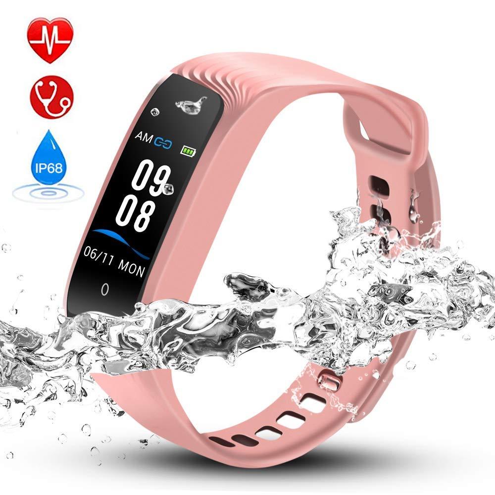 Hommie Bracelet Intelligent Tracker d'Activité avec Cardiofréquencemètre Podomètre Calories Sommeil, Montre Connectée Bluetooth 4.0 Etanche IPX8 - Compatible avec iOS 8.0 ou Android 4.3-W04 Bleu S4BL-EU